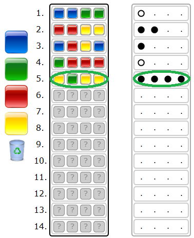 Each guess is made by placing a row of colours on the board. Once placed, feedback will be provided by placing pegs in the left board of the row with the guess.