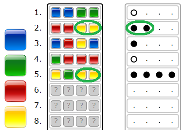 A black key peg is placed for each colour from the guess which is correct in both color and position.
